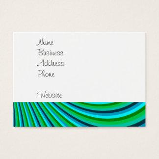 Groovy Blue Green Rainbow Slide Stripes Retro Business Card