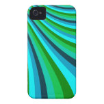 Groovy Blue Green Rainbow Slide Stripes Retro iPhone 4 Cover