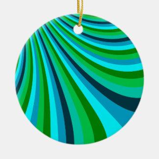 Groovy Blue Green Rainbow Slide Stripes Retro Ceramic Ornament