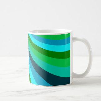 Groovy Blue Green Rainbow Slide Stripes Retro Coffee Mug