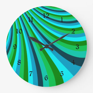 Groovy Blue Green Rainbow Slide Stripes Retro Large Clock