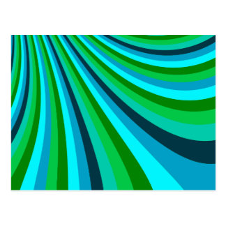 Groovy Blue Green Rainbow Slide Stripes Retro Post Card