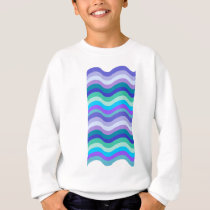 Groovy blue, purple and teal wavy lines pattern sweatshirt