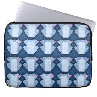 Groovy Blue Tux Pattern Laptop Computer Sleeve