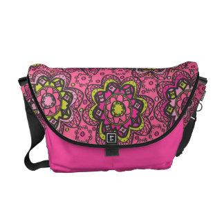 Groovy Boho Flower Print on Pink Courier Bag