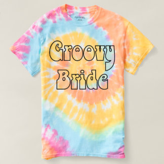 Groovy Bride Pastel Rainbow Spiral Tie Dye T-shirt