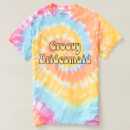 Groovy Bridesmaid Pastel Rainbow Spiral Tie Dye T-shirt