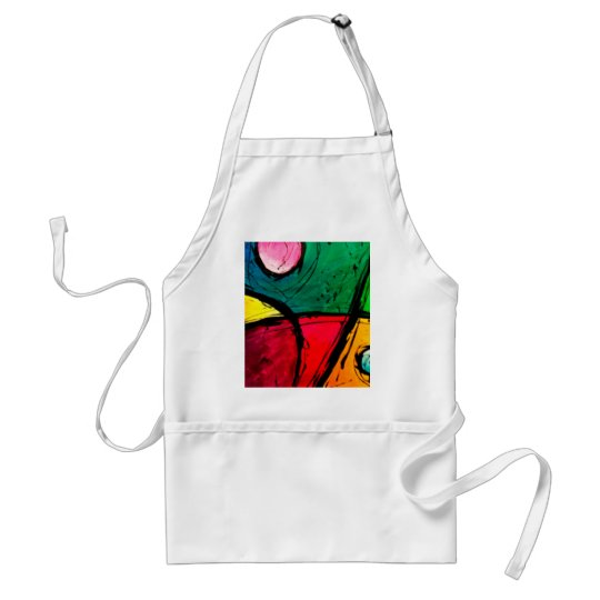 Groovy Bright Abstract Acrylic Art Adult Apron