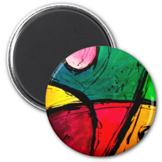 Groovy Bright Abstract Acrylic Art 2 Inch Round Magnet