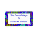 groovy bright blue bookplates custom address label