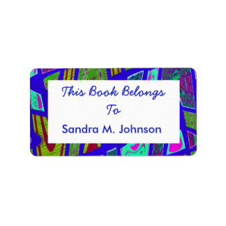 groovy bright blue bookplates address label