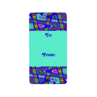 groovy bright blue gift tags custom address labels