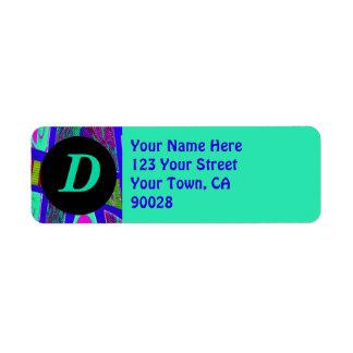 groovy bright blue monograms label