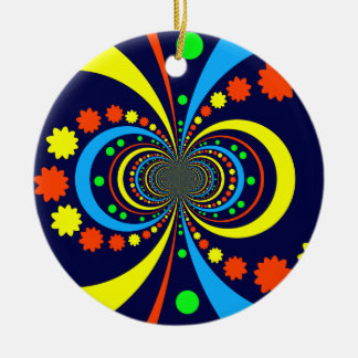 Groovy Bug Eyes Stars Stripes Blue Orange Ceramic Ornament