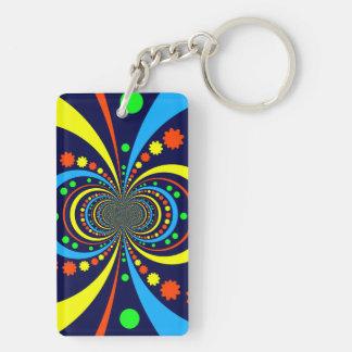 Groovy Bug Eyes Stars Stripes Blue Orange Double-Sided Rectangular Acrylic Keychain