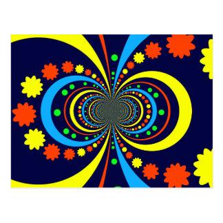 Groovy Bug Eyes Stars Stripes Blue Orange Postcard