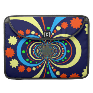 Groovy Bug Eyes Stars Stripes Blue Orange Sleeves For MacBook Pro