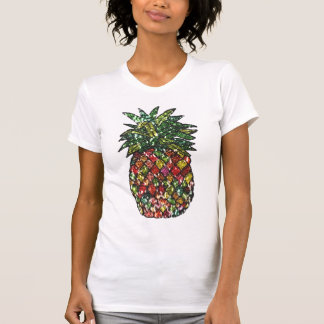 Groovy Chic Faux Sequined Colorful Pineapple T-Shirt