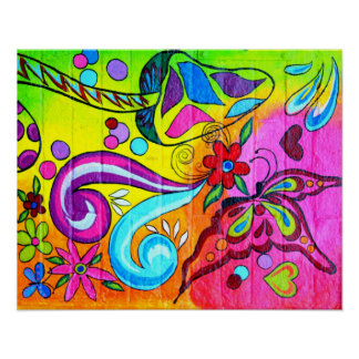 groovy colorful magic mushroom butterfly poster