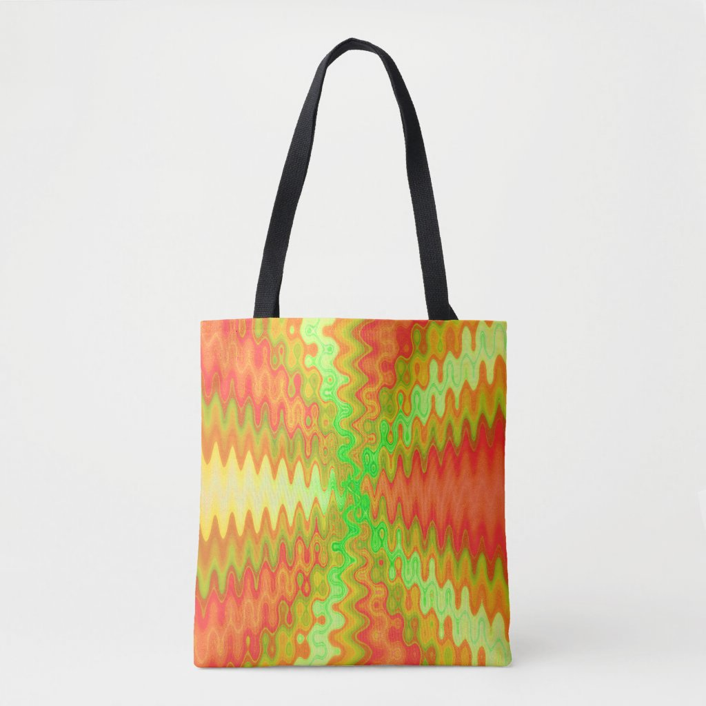 Groovy Colorful Orange Yellow Green Abstract Tote Bag