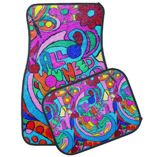 groovy colorful peace and love car floor mat