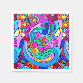 groovy colorful peace and love napkin