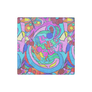 groovy colorful peace and love stone magnet