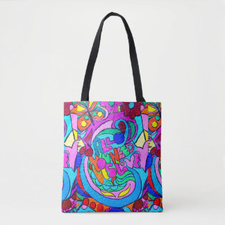 groovy colorful peace and love tote bag