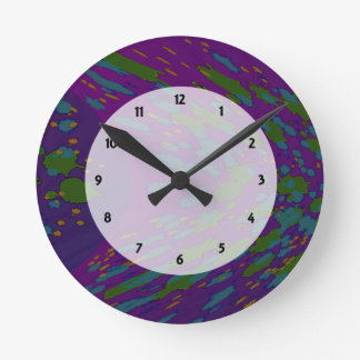 groovy colorful purple abstract round clock