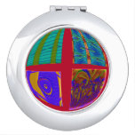 Groovy Colorful Red Abstract Compact Mirrors