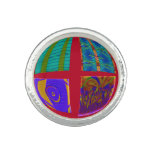 Groovy Colorful Red Abstract Photo Rings