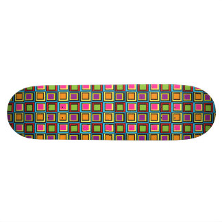 Groovy Colorful Retro Squares Skate Board Deck