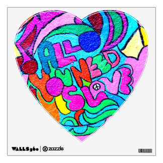 groovy colors peace and love decal wall graphic