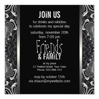 Groovy Damask Twist Black White Party Invitations