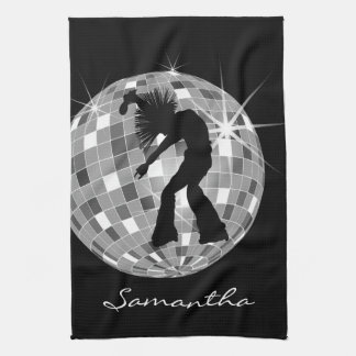 Groovy Dancer Silhouette On DiscoBall Towels