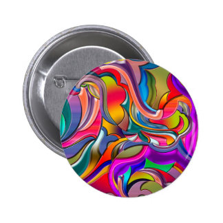 Groovy Digital Pattern Pinback Button