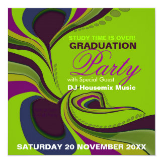 Groovy Diva Graduation Birthday Party Invitation