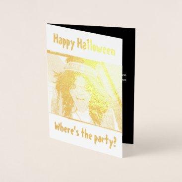 Halloween Themed Groovy Dude Halloween Gold Foil Greeting Card