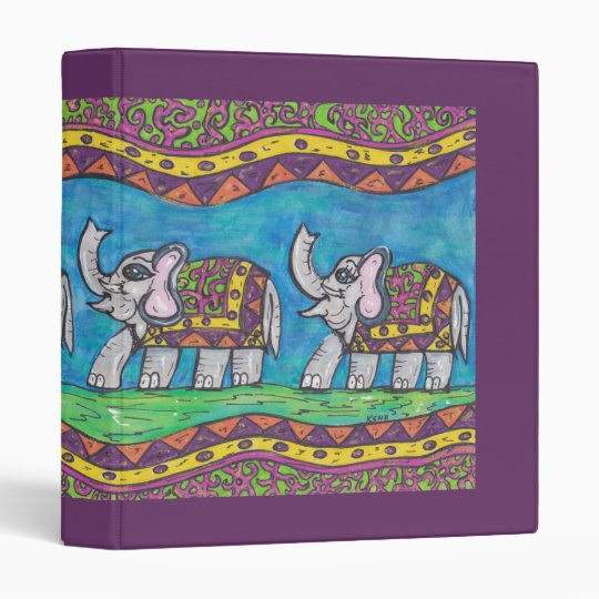Groovy Elephant Parade 3 Ring Binder