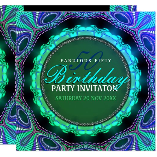 Groovy Fabulous 50 Birthday Party Invitations