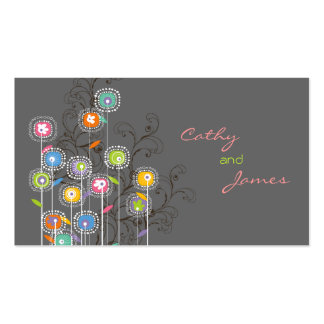 Groovy Flower Garden Place Card Profile Card Business Card Template