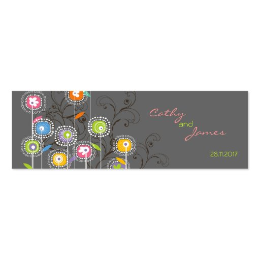 Groovy Flower Garden Thank You Gift Tag / Favor / Double-Sided Mini Business Cards (Pack Of 20)