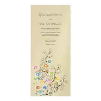 "Groovy Flower Garden Wedding Invitation 4"" X 9.25"" Invitation Card"