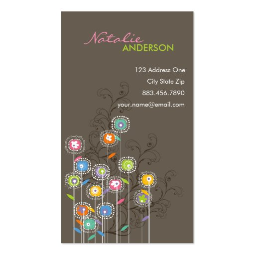 Groovy Flower Garden Whimsical Colorful Floral Business Card Template