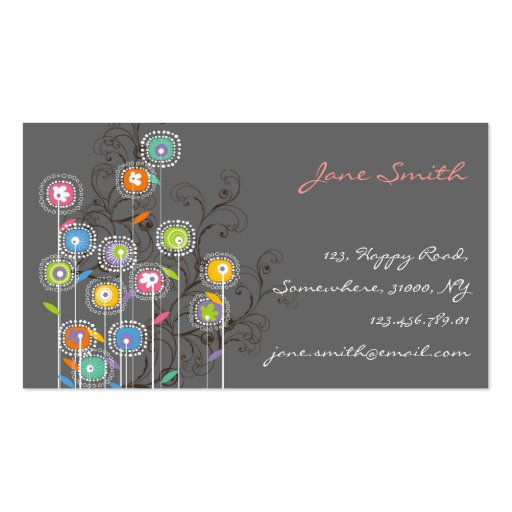 Groovy Flower Garden Whimsical Colorful Floral Business Card Templates
