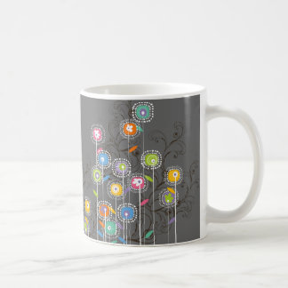 Groovy Flower Garden Whimsical Colorful Floral Classic White Coffee Mug
