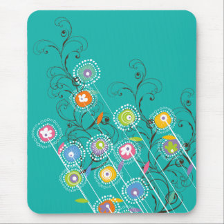 Groovy Flower Garden Whimsical Colorful Floral Mouse Pad