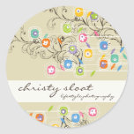 Groovy Flower Garden Whimsical Colorful Floral Classic Round Sticker