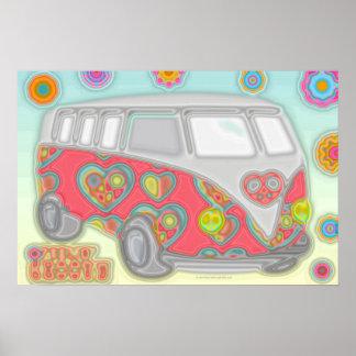 Groovy Flower Power 60s Hippy Van Poster