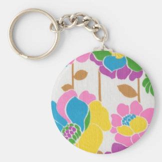 Groovy Flower Power Button Keychain